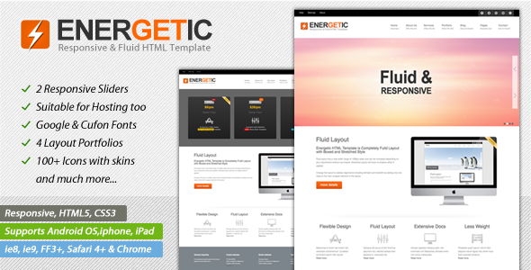 Energetic - Responsive HTML5 Template - Creative Site Templates