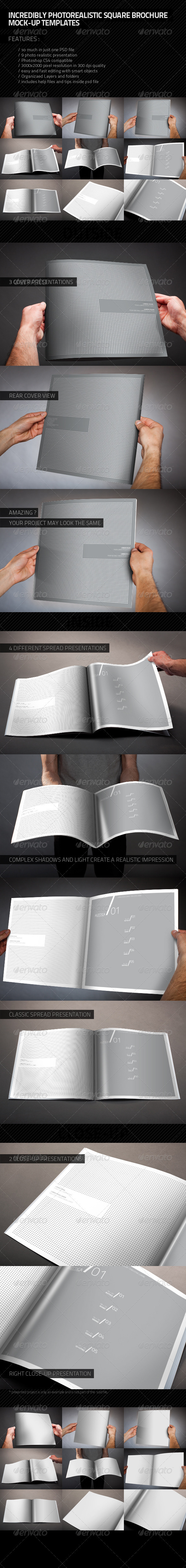 Photorealistic Square Brochure Mock-up - Brochures Print