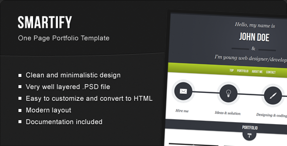 ThemeForest Smartify Single Page HTML5 Portfolio Template 2180300
