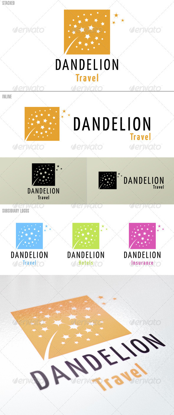 Dandelion Brand Identity – With Subsidiary Brands - Nature Logo Templates