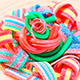Colorful Gummy Candy Rotating On Wooden Plate - VideoHive Item for Sale