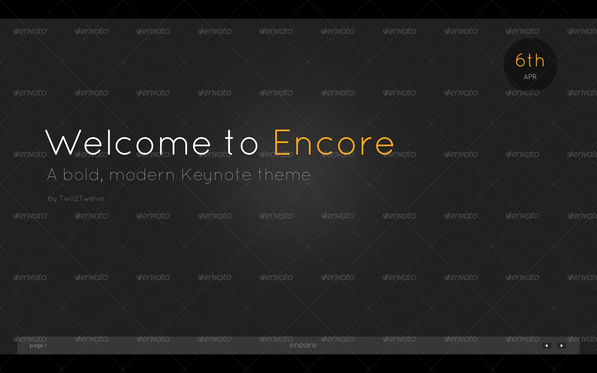 Encore Keynote Presentation Template  - Welcome (Dark Noise) - Bold title page with subtitle, author and date.