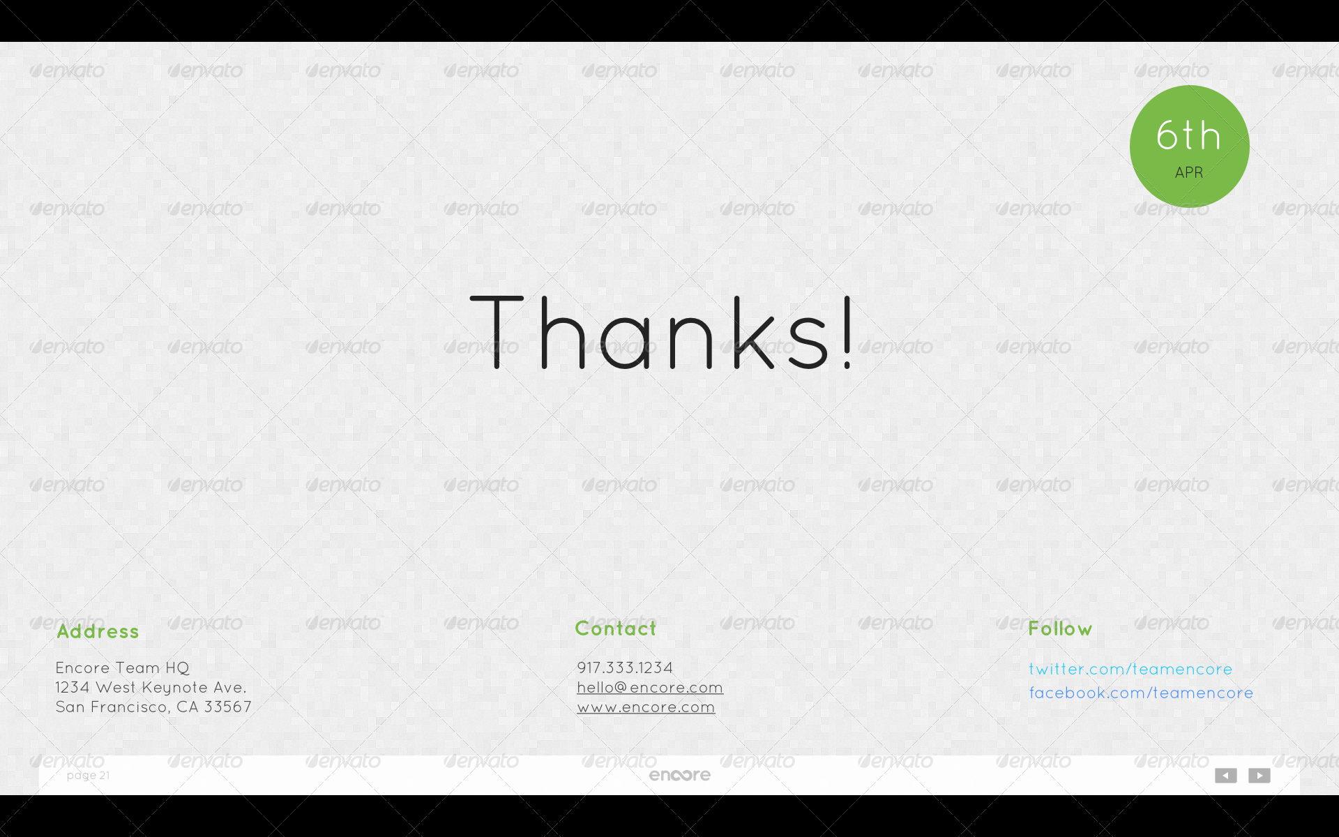 Encore Keynote Presentation Template  - End (Light Tiles) - Final thank you page with date, contact information and social networking links