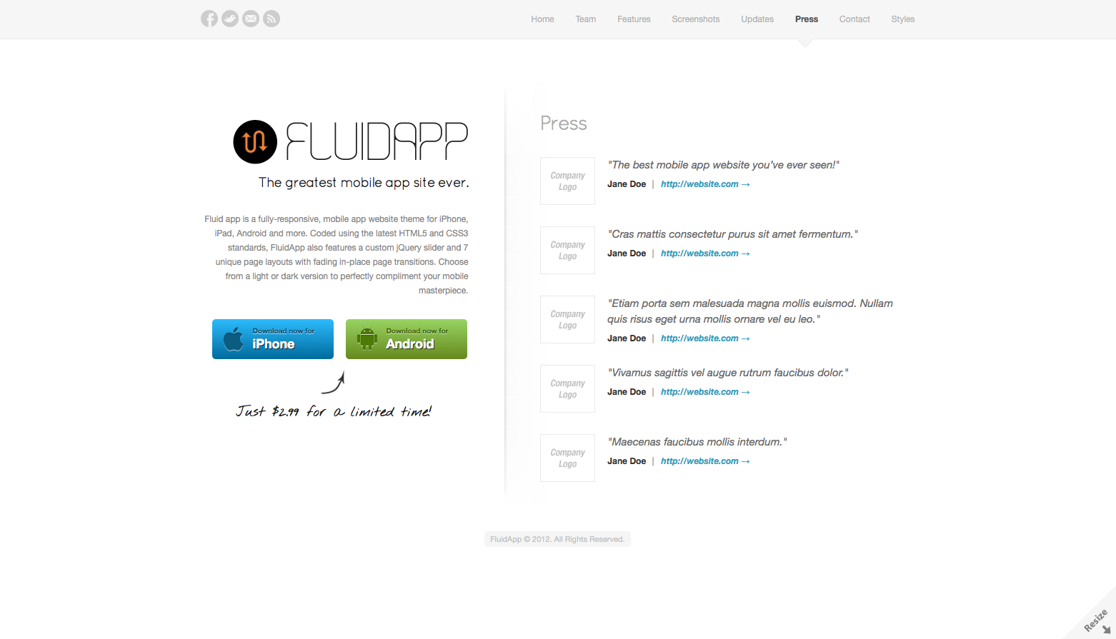 FluidApp - Responsive Mobile App Website Template - Press - A place to showcase feedback and testimonials from customers and the media.