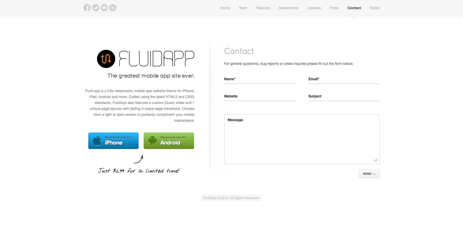 FluidApp - Responsive Mobile App Website Template - Contact - Fully working contact form with validation.
