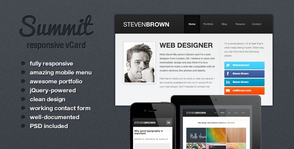 Summit - Responsive vCard Theme