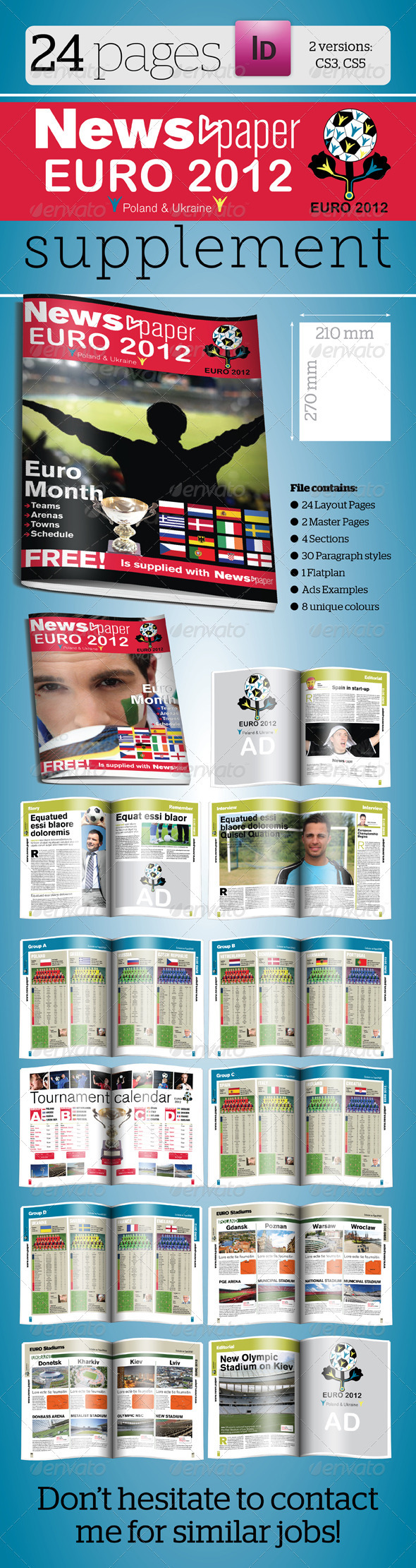 24 Pages Euro 2012 Supplement For News.paper - Newsletters Print Templates