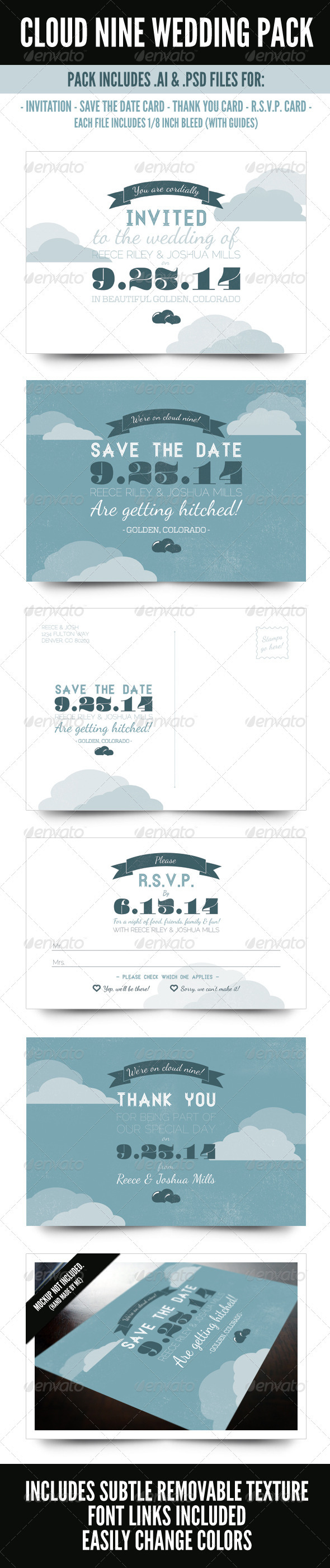 Cloud Nine Wedding Pack - Weddings Cards & Invites