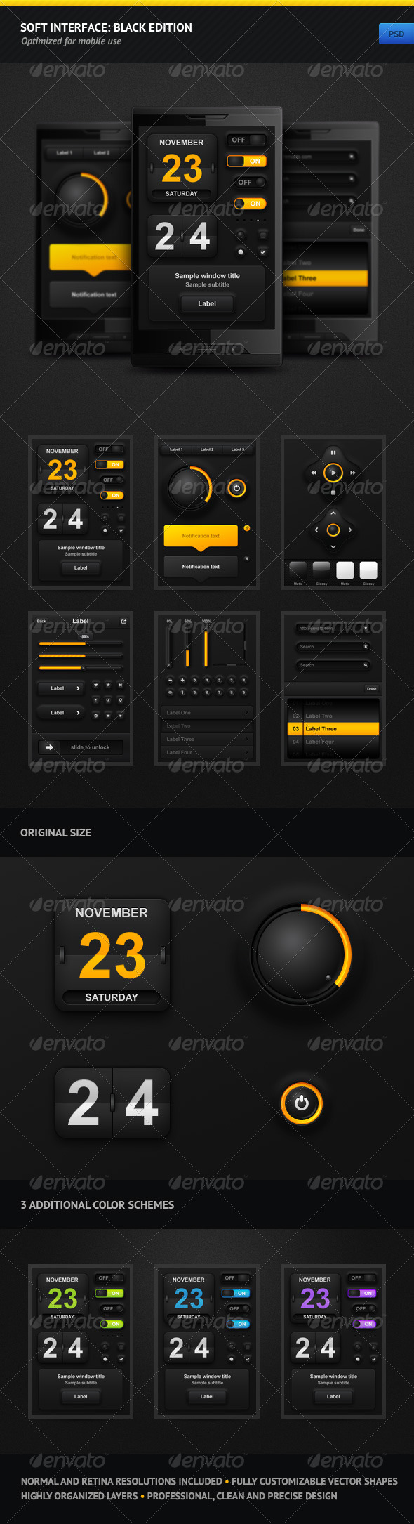 Soft Interface: Black Edition - User Interfaces Web Elements