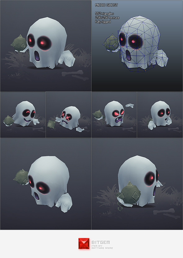 Low Poly Micro Ghost Hubert - 3DOcean Item for Sale