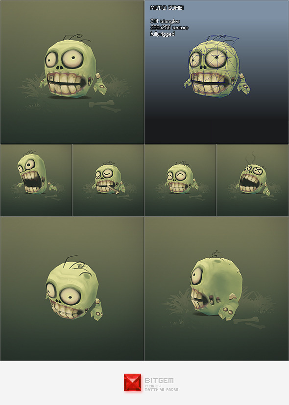 Low Poly Micro Zombie Brian - 3DOcean Item for Sale