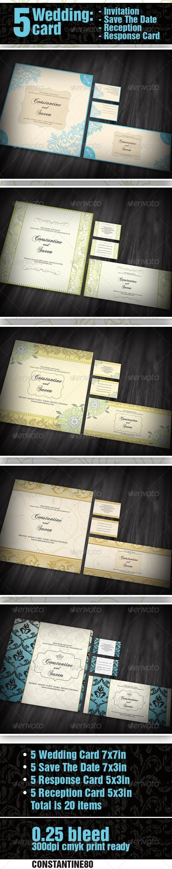 GraphicRiver 5 items Wedding Invitation & Save The Date 2255999