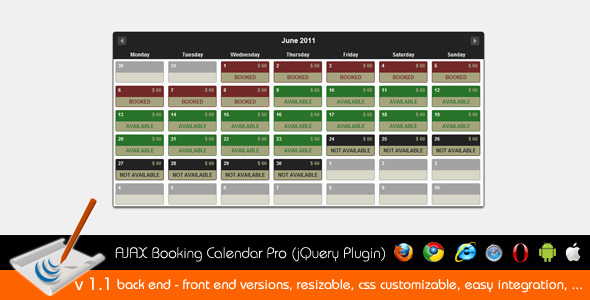 Booking Calendar PRO (jQuery Plugin) - CodeCanyon Item for Sale