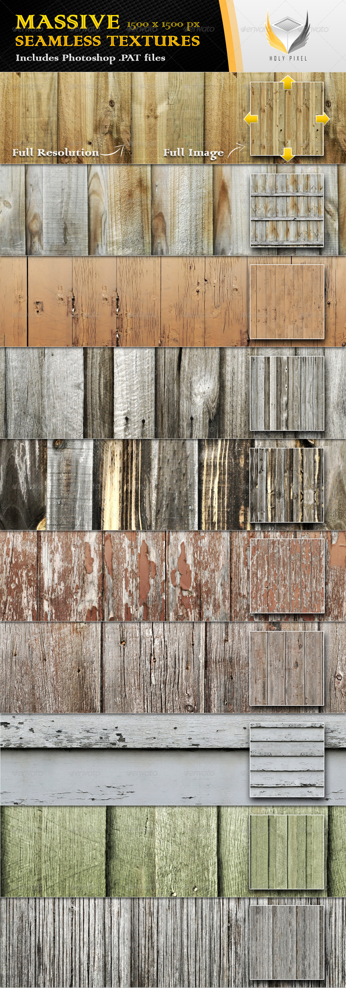 10 Seamless Wooden Fence Textures - Textures / Fills / Patterns Photoshop