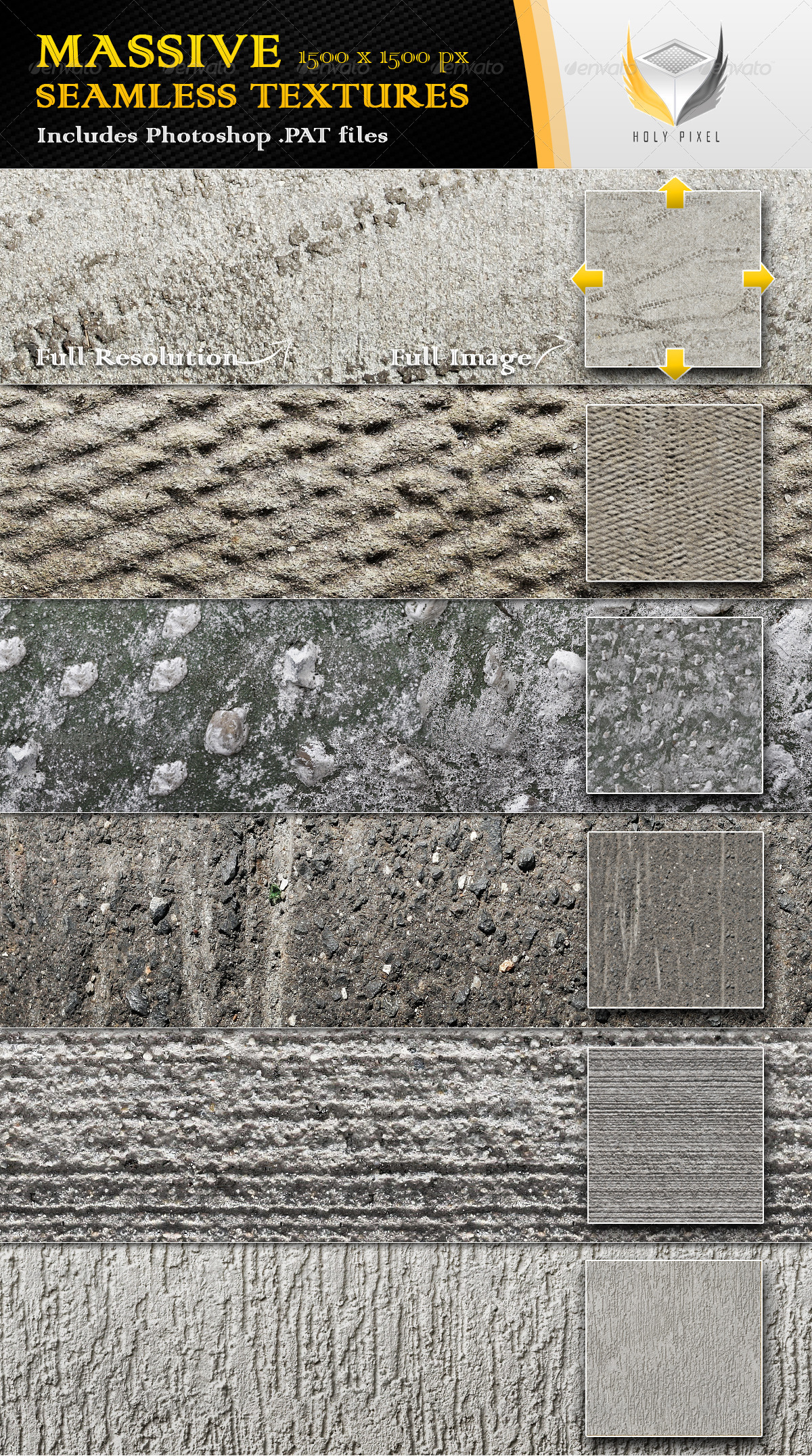 6 Seamless Concrete Textures 2 - Urban Textures / Fills / Patterns