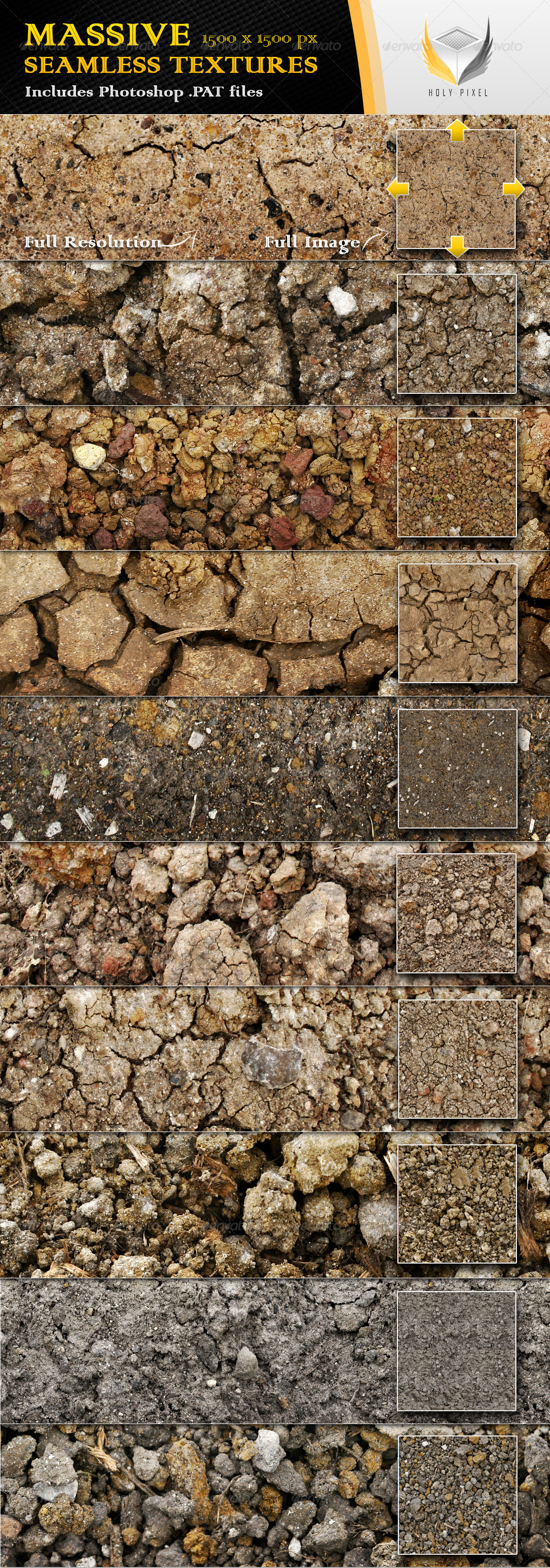 10 Seamless Clay Textures - Nature Textures / Fills / Patterns