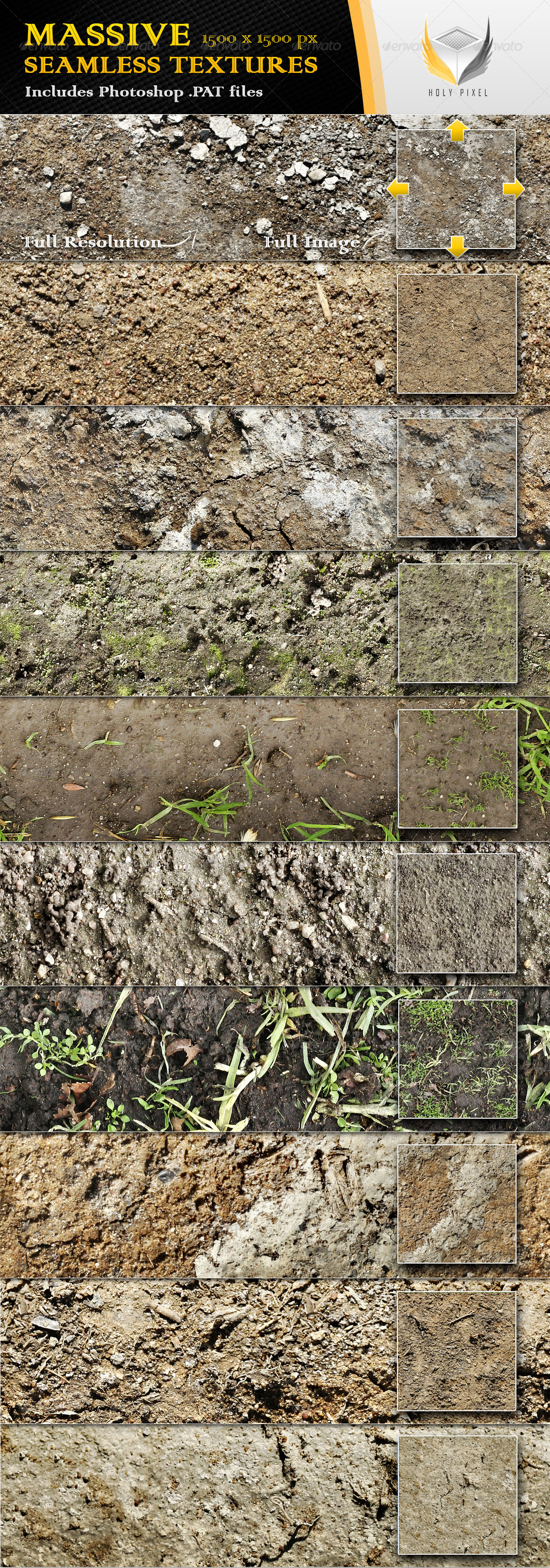 10 Seamless Dirt and Soil Textures - Nature Textures / Fills / Patterns