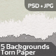 Torn Paper Backgrounds / Textures - 5 Themes - GraphicRiver Item for Sale