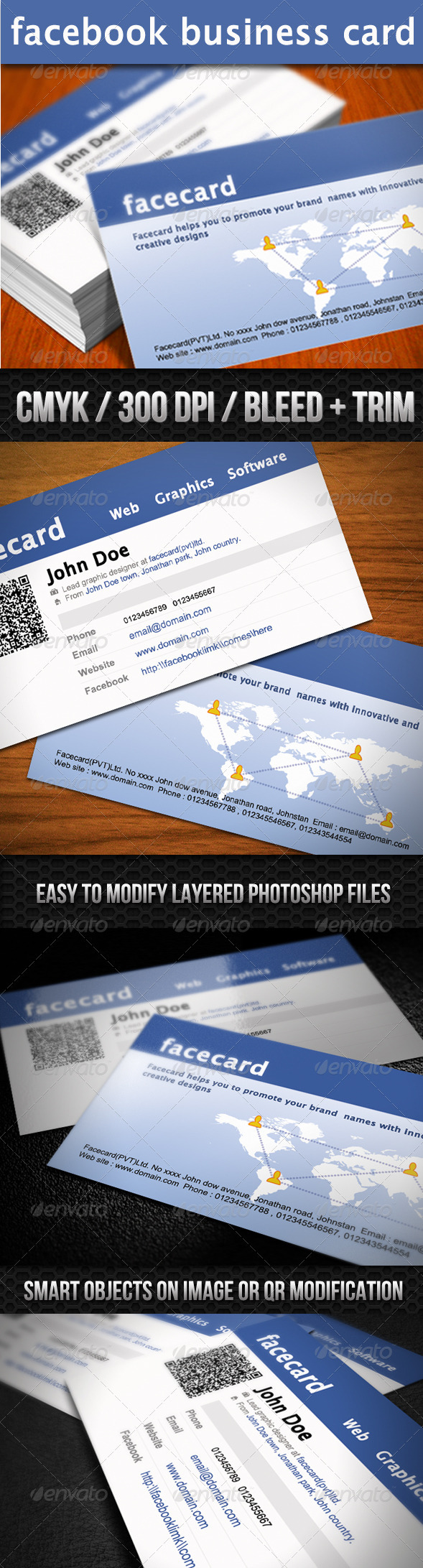 Quick Responsive Facebook Business Card - Business Cards Print Templates