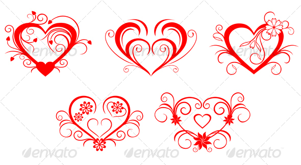 Red valentine hearts - Decorative Vectors