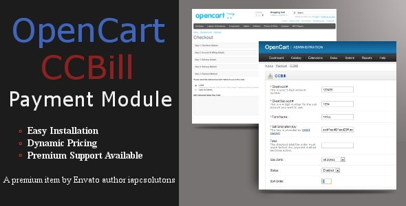 CCBill Payment Module for OpenCart - CodeCanyon Item for Sale