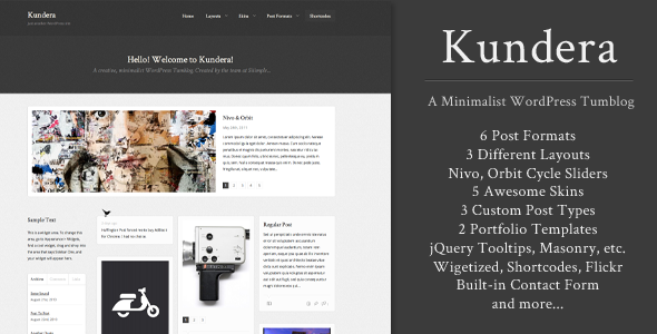 Kundera: Creative WordPress Tumblog - Blog / Magazine WordPress