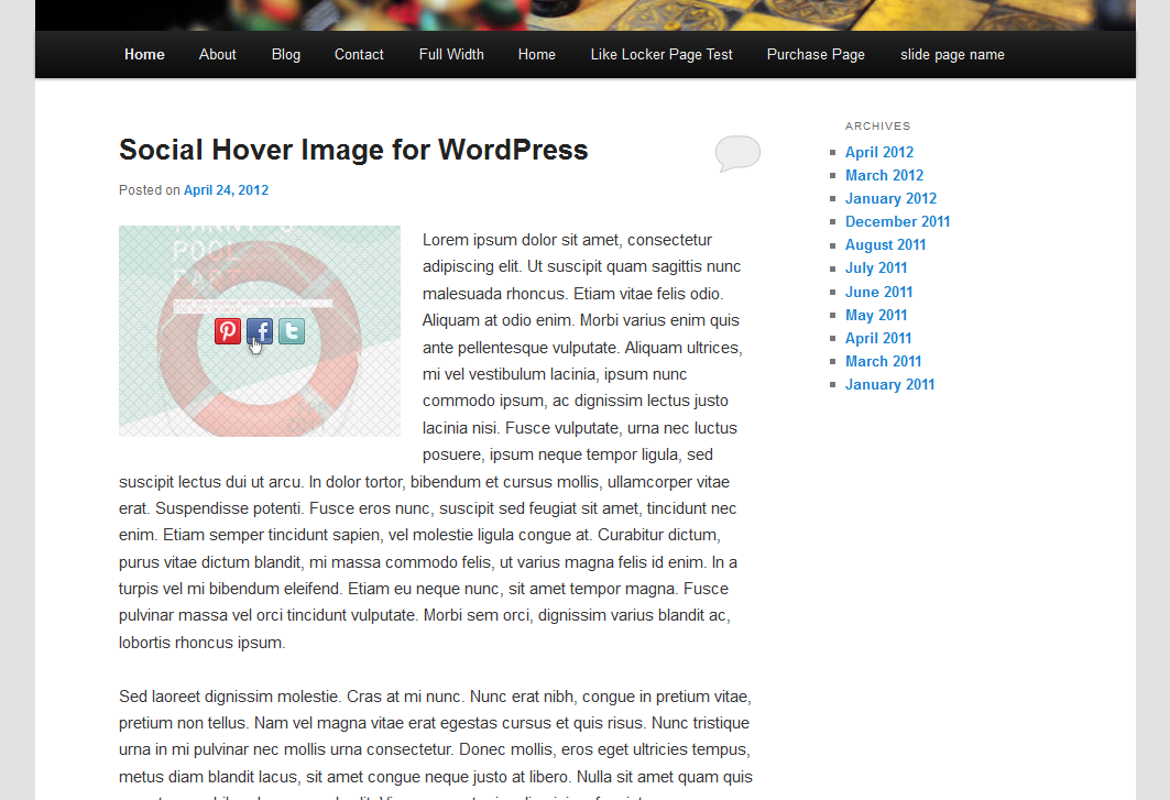 Social Image Hover for WordPress