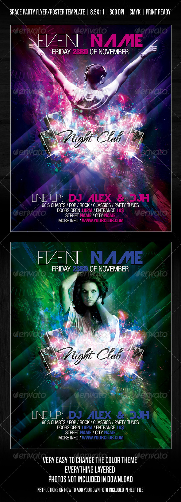GraphicRiver Night Club Space Party Flyer Poster Template V2 257490