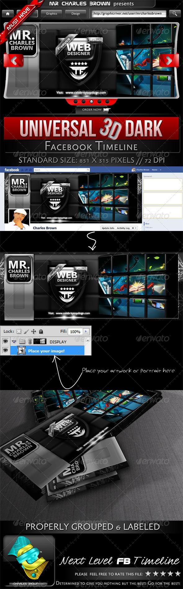 GraphicRiver Universal 3D Dark Facebook Timeline 2273732