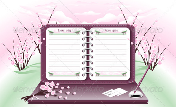 Notepad with Pen on the Background of the Spring  - Objects Vectors