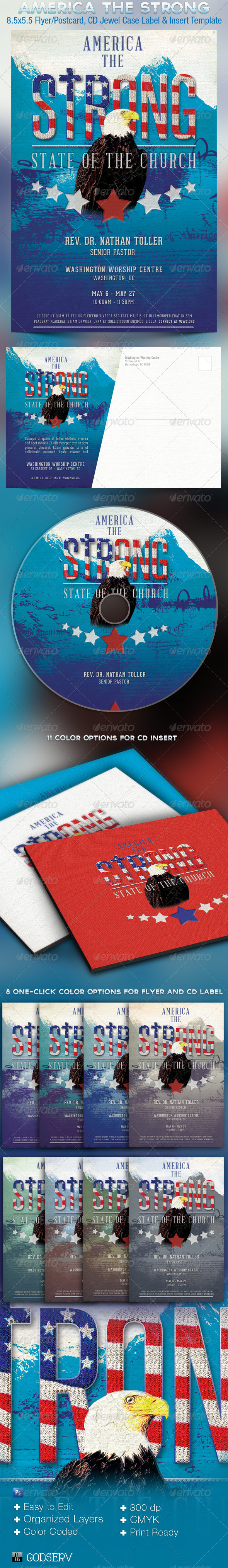 America The Strong Church Flyer, Postcard and CD Template - Church Flyers