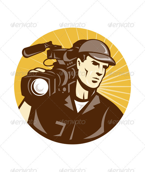 Cameraman Film Crew Pro Video Movie Camera - People Characters