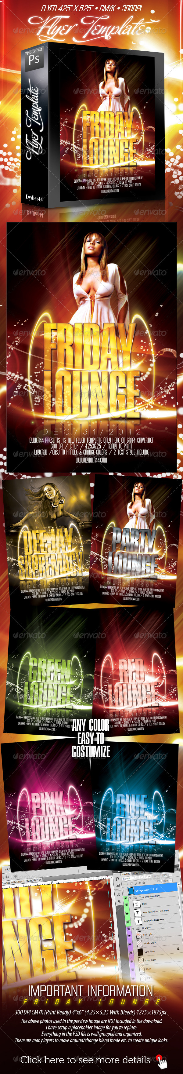 GraphicRiver Friday Lounge Flyer Template 4x6 165373