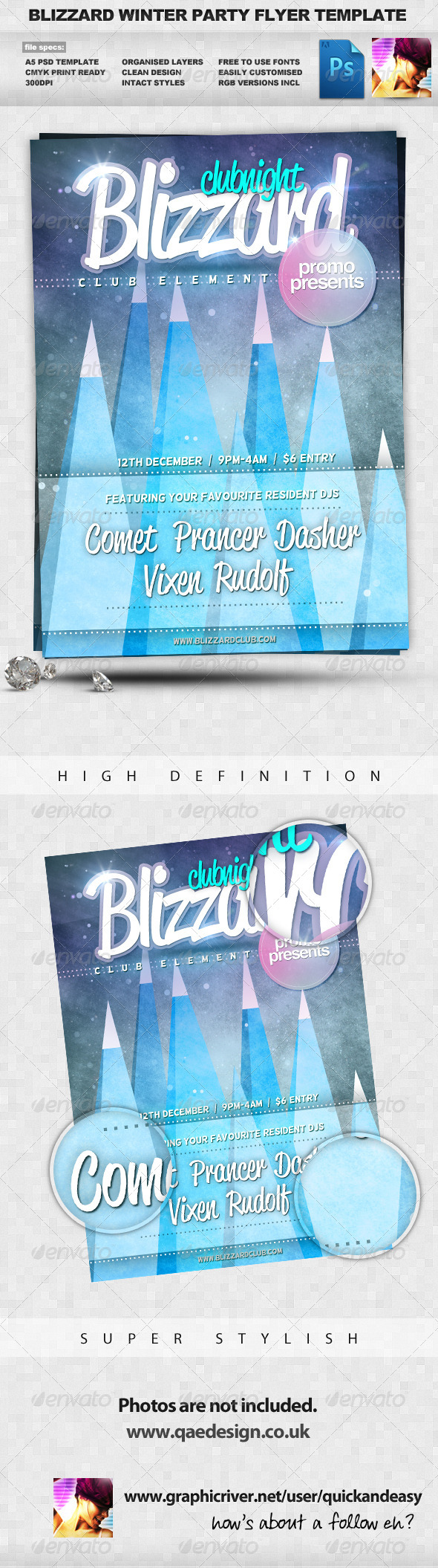Blizzard - Winter A5 PSD Flyer Template - Clubs &amp; Parties Events