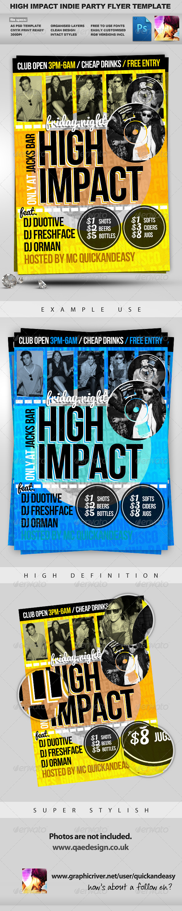 High Impact - A5 PSD Flyer Template - Clubs & Parties Events