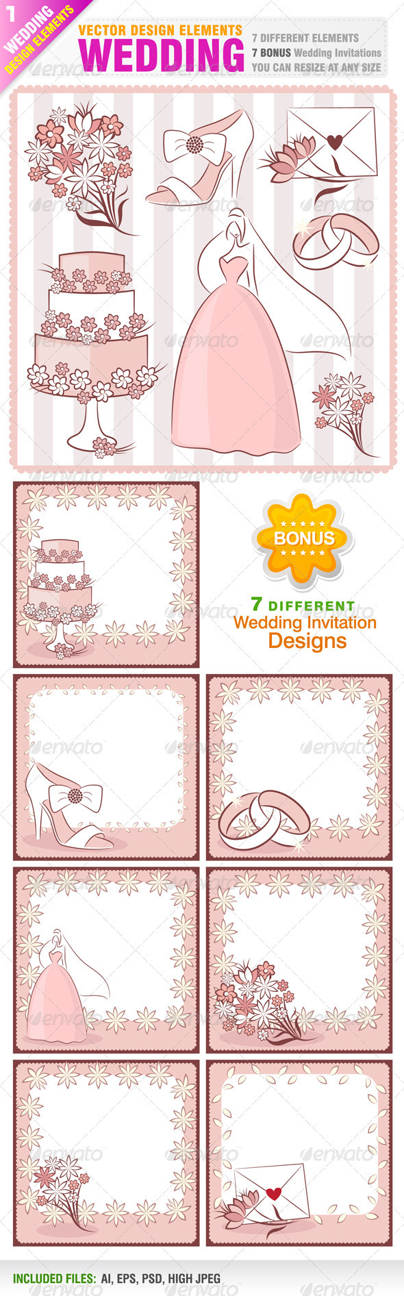 GraphicRiver Wedding Design Elements and Invitations 2257582