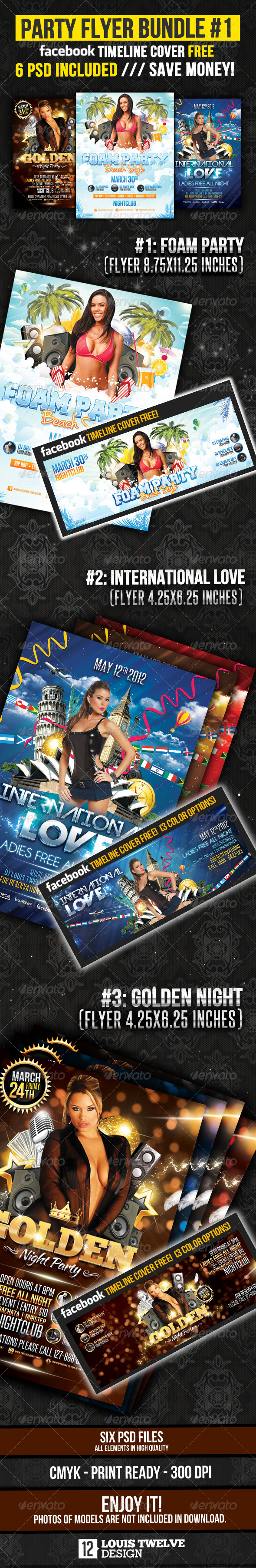 Party Flyer Bundle 01 + Fb Timeline - Clubs & Parties Events