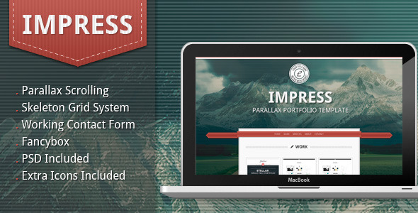 Impress - Parallax Portfolio Template - Preview