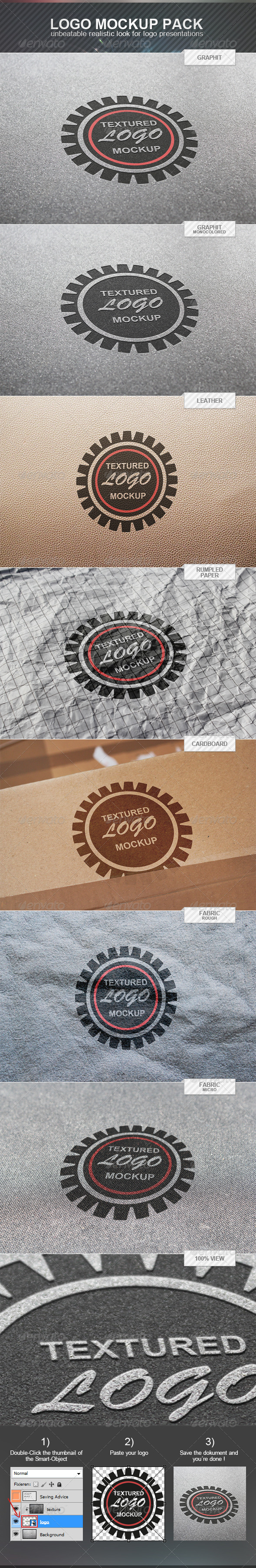 Textured Logo Mockup Pack - Logo Product Mock-Ups