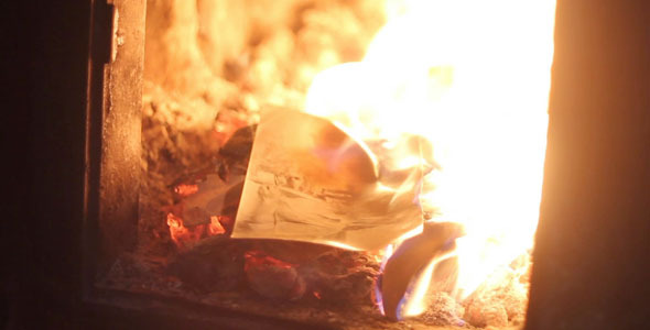 VideoHive Burning Old Photos In The Furnace 2 2286885