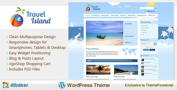 View live Demo for Travel Island - Responsive Jigoshop WordPress e-commerce Theme
