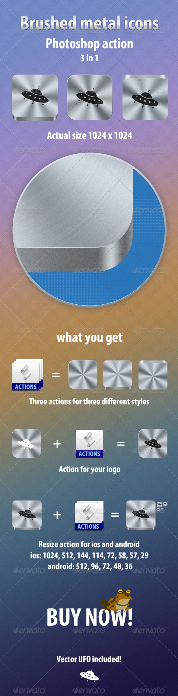Brushed metal icons  - Photo Effects Actions