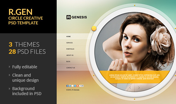 ThemeForest R.Gen Circle Creative PSD Template 2297212