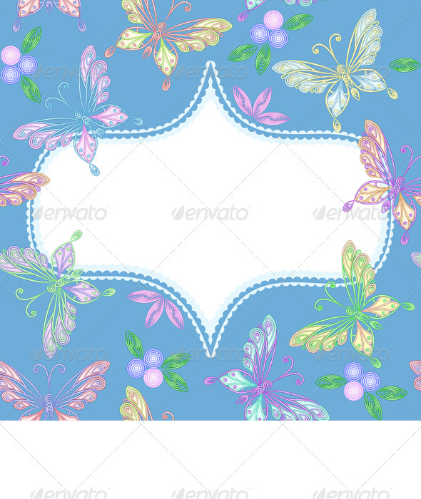 Vector Floral Lace Frame with Butterflies - Borders Decorative
