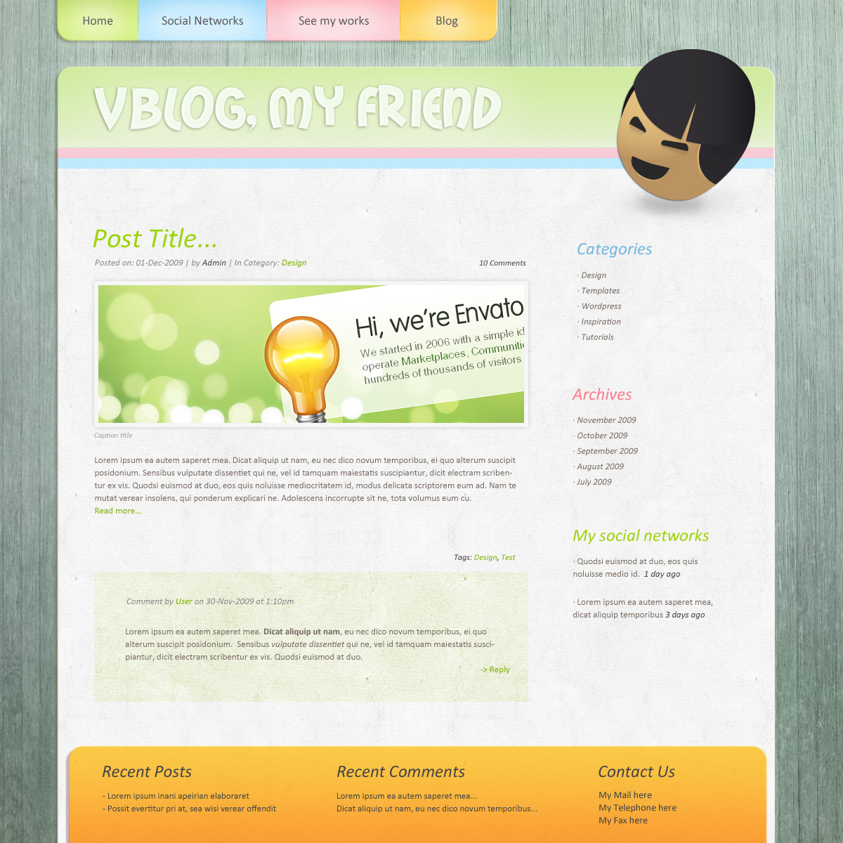 Pinkage, a sweet and colorful theme - Blog green version page