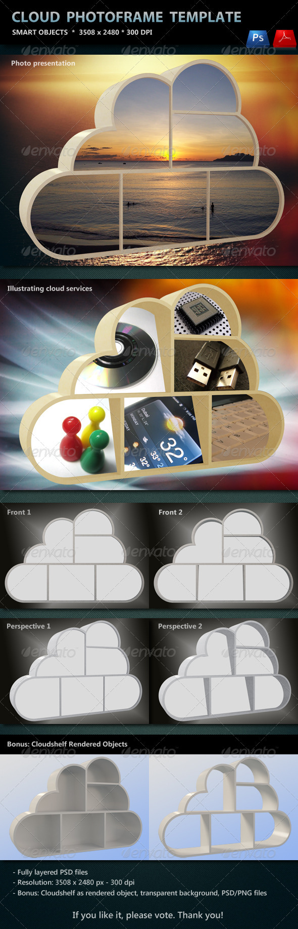 Cloud Photo Frame Template - Photo Templates Graphics