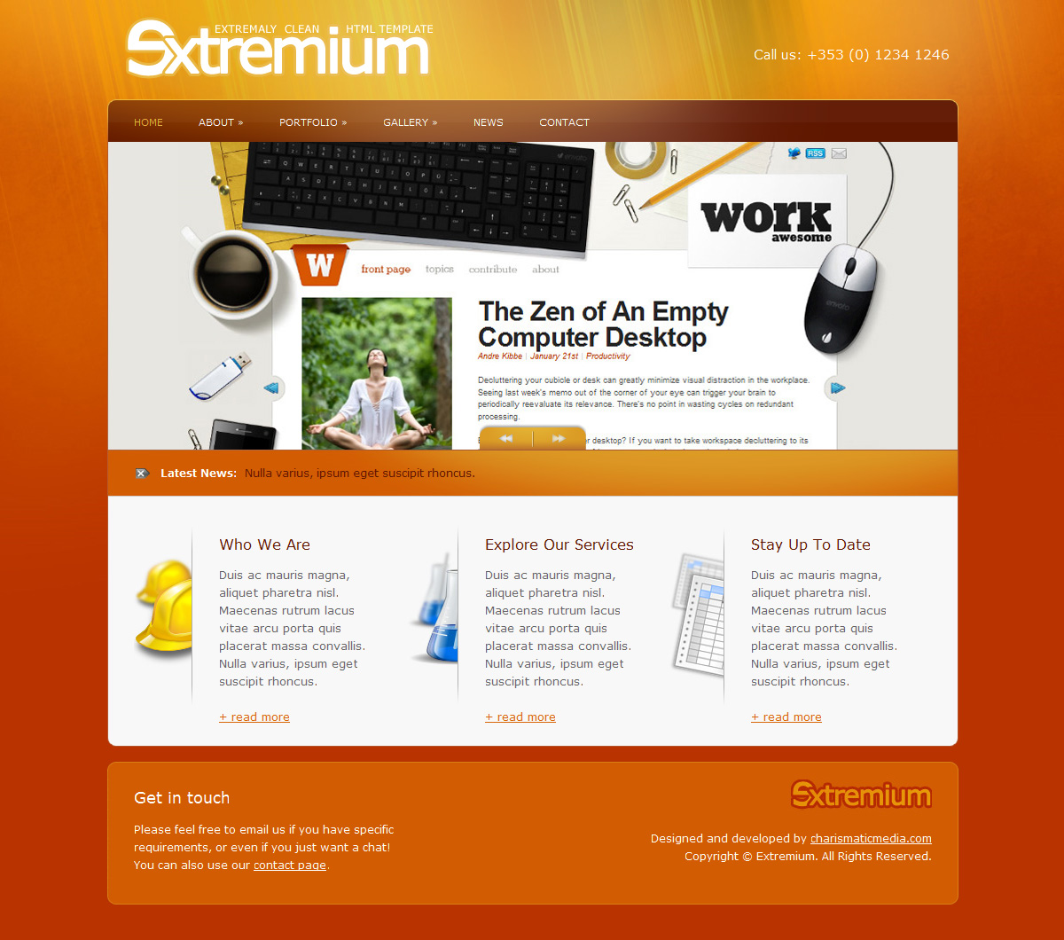 Extremium - 6 in 1 Extremely Clean HTML Template - Extremium Home Page - Orange