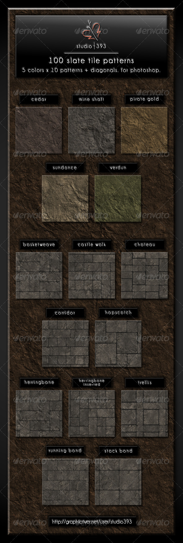 100 (5x10x2) Slate Paving Tile Patterns - Nature Textures / Fills / Patterns