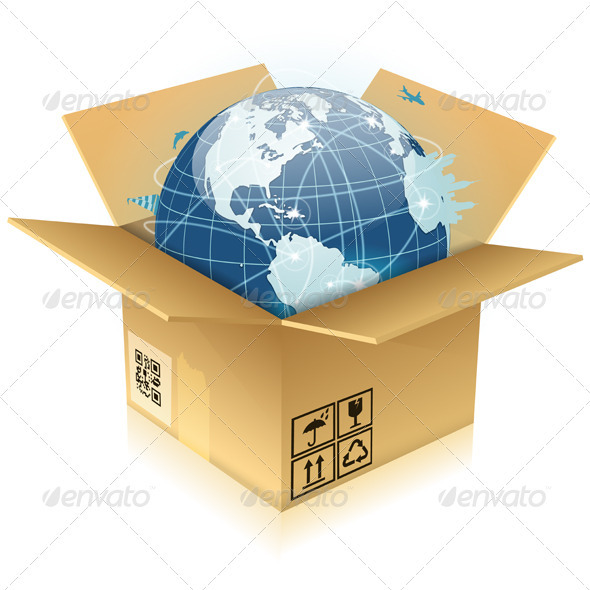 Cardboard Box with Earth - Concepts Business