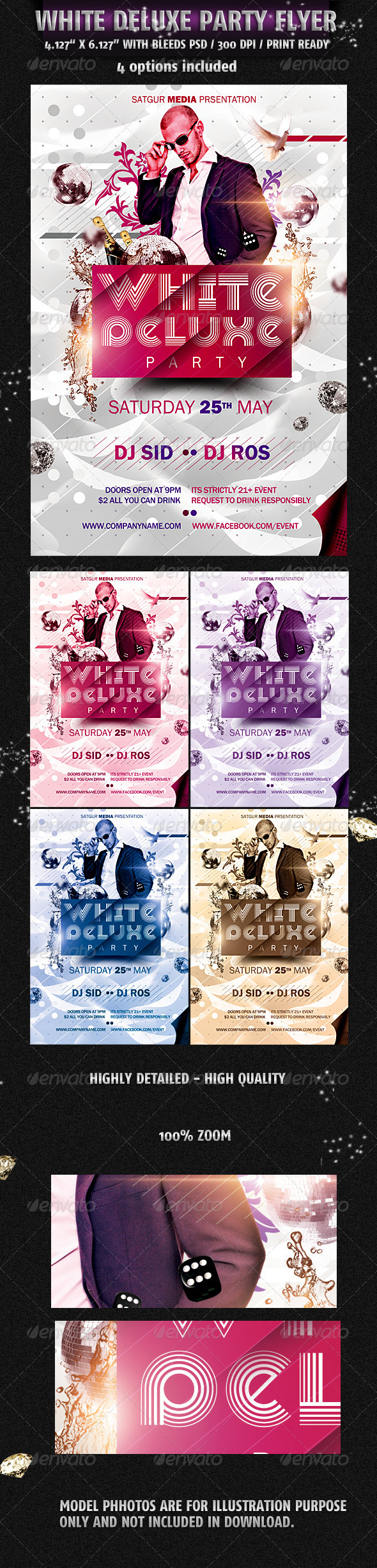 White Deluxe Party Flyer - Flyers Print Templates